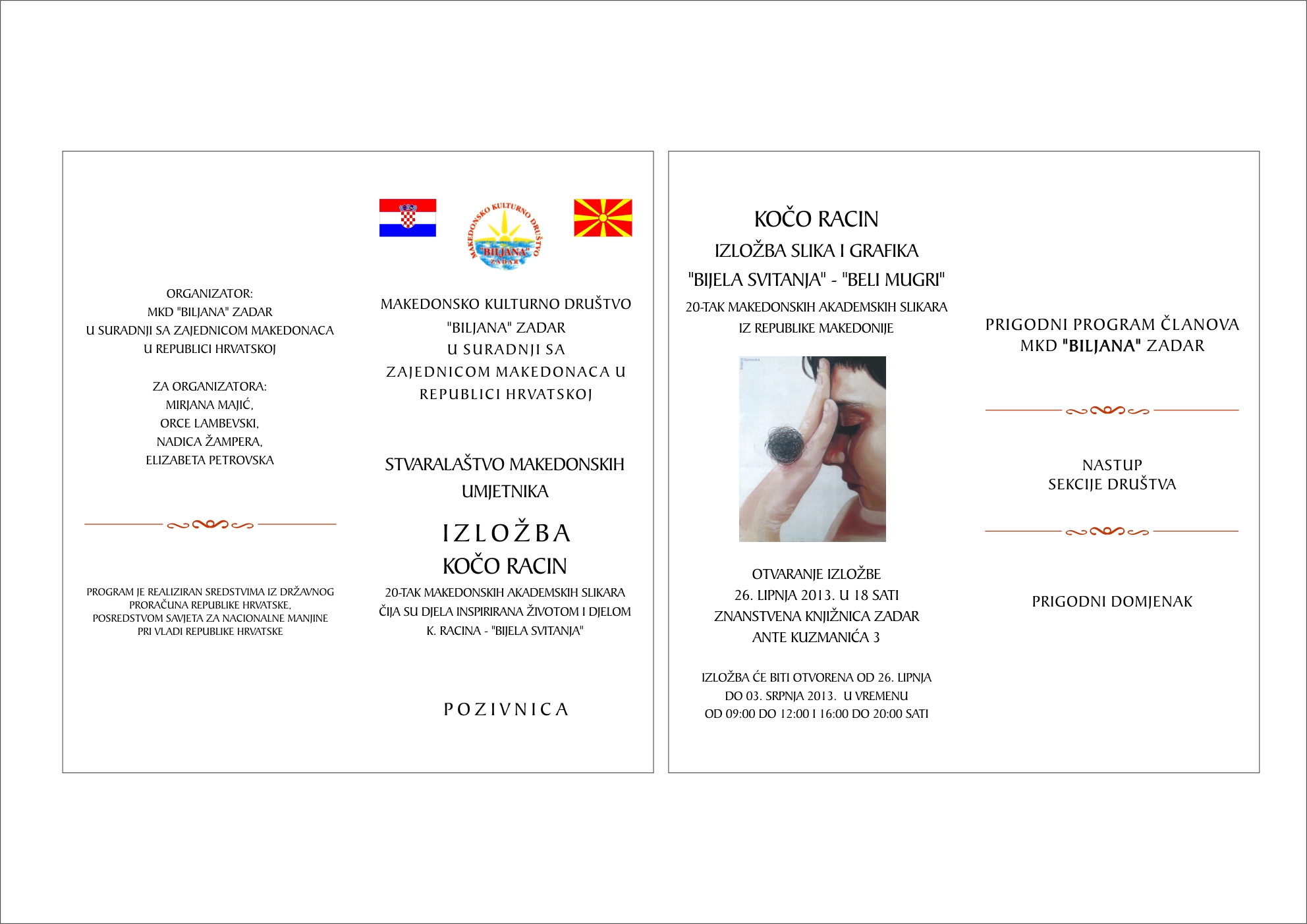 """Pozivnica: Izložba """"Stvaralaštvo makedonskih umjetnika u RH"""" – Zadar"""