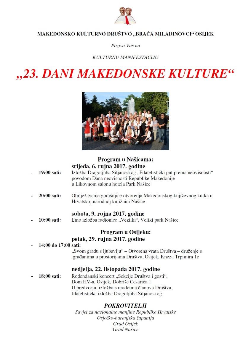 Pozivnica: 23. Dani makedonske kulture u Osijeku i Našicama